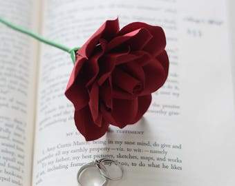 Long Stem Paper Rose, Individual Paper Rose, Book Page Roses, Paper Flowers,  Paper Roses, Eco Wedding Flowers