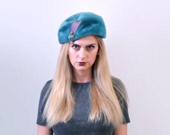 1960's blue fur hat. aqua. 50 60 wool hat. bow. rhinestones. vintage cloche.