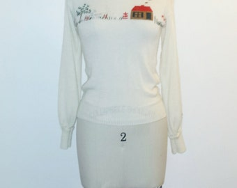 Vintage 1960s Sweater - 60s Softest White Sweater