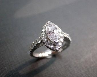 0.60ct Marquise Diamond Engagement Wedding Rings Women Jewelry Gift Jewellery Custom Made Gemstone Jewelry 14K White Gold