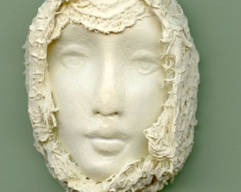 Polymer Clay One of a Kind Ivory Face with Fabric  Cab FFI 2