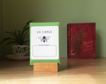 Honey bee book plates. Ex Libris honeybee bookplate stickers, set of 17 plus envelope. Personalize them with name and other text changes.