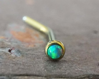 18g Green Opal Nose Ring Gold Nose Stud