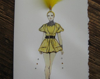 2009 Alexander McQueen Gold short dress Fashion Illustration
