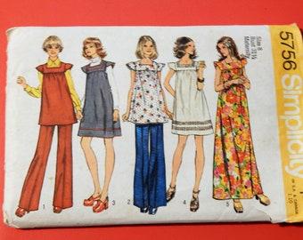 Vintage maternity pattern Simplicity 5756 Boho maternity dress or tunic and pants pattern Size 8