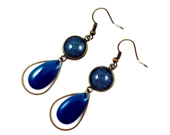 Long bronze earrings * Cabochon waves Japanese teal drops