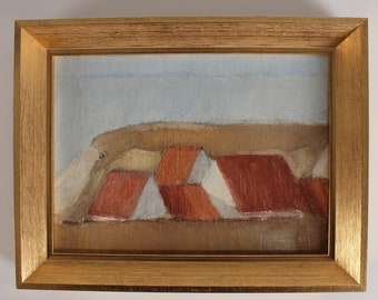 John Laursen painting of danish fishing village, scenery from the country side in the 80s