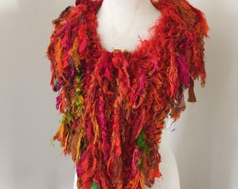 sale silk scarf, bright orange Recycled silk, hand knitted, boho tattered rag scarf
