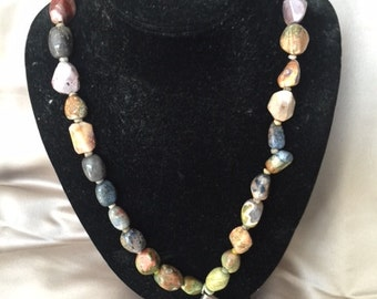 boho chunky stone necklace with sterling
