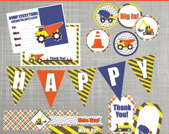 Construction Trucks Birthday Party Decorations - DIY / PRINTABLE - Construction Trucks Collection