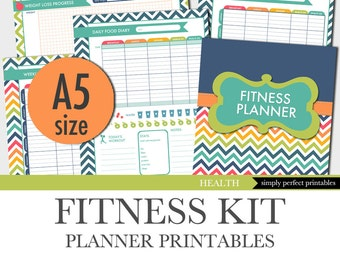 Fitness Planner - Weight Loss - Food Diary - Menu Planner - Workout Log - A5 Size - 5.8 x 8.3 inches