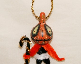 Folk Art Halloween Gourd Ornament OOAK Orange Jol  Haunted Halloween Ornaments (A 5)