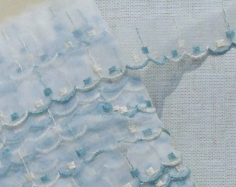 Vintage Lace Trim Organza Embroidered Trim Blue and White Dots