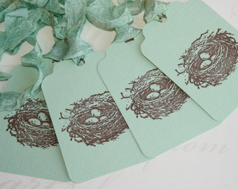 Birds Nest Tags // Seafoam Gift Tags // Shabby Chic Gift Tags