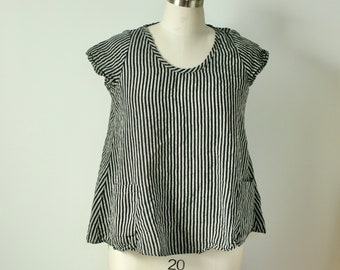2x  a-line black and off white striped linen top with pockets