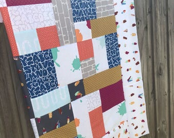 Double Dutch Lap Quilt Top - Unfinished / Latifah Saafir for Hoffman / gift for her / ready to quilt / Ice cream, summertime, graffiti, pink