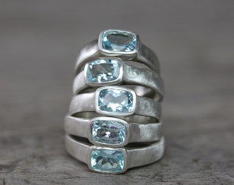 Aquamarine And Sterling Silver Ring, Cushion Cut Gemstone and Brushed Sterling Silver Ring,MADE TO ORDER