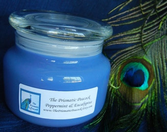 Peppermint & Eucalyptus Scented Aromatherapy Soy Candle 12 oz Apothecary Jar