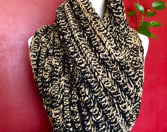 Taupe and Black Integrated Crochet Infinity Scarf
