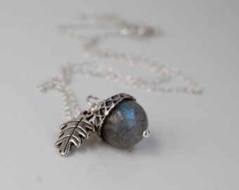 Labradorite and Silver Acorn Necklace   Gemstone Jewelry   Labradorite Acorn Necklace   Fall Acorn Charm Necklace   Nature Jewelry