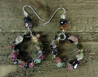 Tourmaline Wire Wrapped Earrings, Sterling Silver & Tourmaline Chandeliers, Signature Jewelry, Tourmaline Gemstone