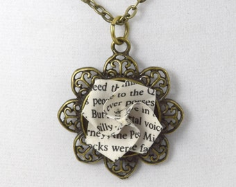 Paper Origami Necklace from Book Page // Antique Brass Pendant