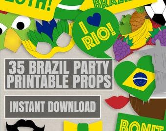 35 Brazil Party Theme Photo Booth Props, Brazilian themed party props, love Rio party, photobooth sign, rio props, brazil instant download