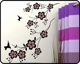 "Cherry Blossom Wall decal - removable vinyl cherry vine wall decor w/ humming birds 41"" X 23"""