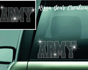 Rhinestone ARMY car decal