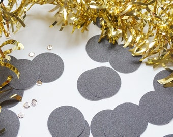 Black Glitter Confetti, Black Confetti, Black Glitter Circle Confetti, Party Decorations, Party Decor, Wedding Decor, Birthday Party