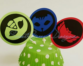 PJ Masks Cupcake Topper Flags - Set of 12 - Kids Party Decor