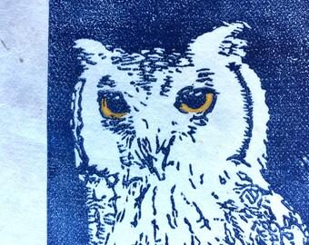 Little Owl  - Original Linocut - Artists Example // printmaking, wall art, art, print, bird,