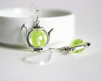 Teapot Earrings Lemon Green Earrings Silver Teapot Earrings Lime Green Tea Earrings Long Earrings Tea Pot Teapot Jewelry Gift for Tea Lovers
