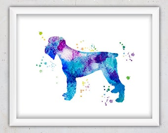 Watercolor Dog Print, Wall Poster, Schnauzer Print, Blue Dog Print, Instant Download Printable, Animal Nursery Print, Abstract Print, Pet