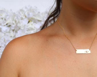 Dainty Hammered Bar Necklaces/ Bare and Me Bar Necklaces/ Bar Necklace Personalized, Custom Name Plate Necklace, Engraved Gold Bar Necklace