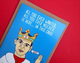 Depeche Mode Dave Gahan Inspired Greetings Card From Full Colour Original Illustration Pun Funny 80s Musician Pop Electronic Music Humour
