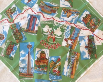 Canada Souvenir Tourist Green Square Scarf /  Collectible Canada Scenes Scarf  /  Free Shipping USA  /Traciesplace