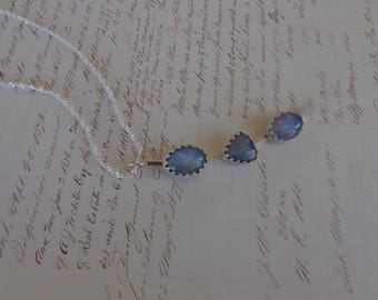 Necklace - Sterling Silver Handmade opal triplet necklace