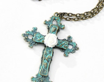 Cross Pendant Necklace, Carved Rose, Religious Gift