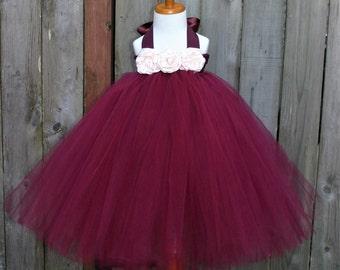 Burgundy Flower Girl Flower Girl Dress, SEVERAL COLORS AVAILABLE! Flower Girl Tutu Dress, Burgundy Tutu Dress