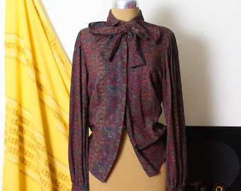 1970s Deep Red Blend Puffy Sleeve Blouse