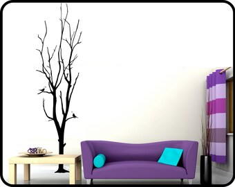 """Bare Winter Tree wall decal with song birds - 7ft tall large Vinyl Wall Mural Sticker - 23"""" wide x 84"""" tall"""