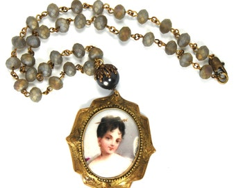 """MEMENTO Upcycled Portrait Miniature Necklace """"Altered Heirlooms"""" by Nouveau Motley Antique Hand Painted Pendant Rosary Beaded Chain"""