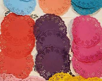 Hand dyed, paper doilies, paper doilies, doilies, junk journal, scrapbooking, paper crafts, Qty. 24