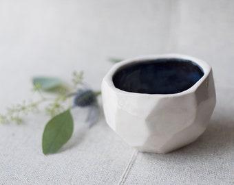 White geometric bowl, ceramic dish, flower pot, handmade pottery, snack dish, home decor, bathroom decor, birthday gift, bowl