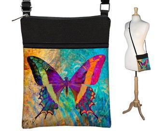 Unique Fabric Purse Small Crossbody Bag Butterfly Boho Cross Body Purse Bohemian Shoulder Bag,  Art Nouveau, blue purple orange black RTS
