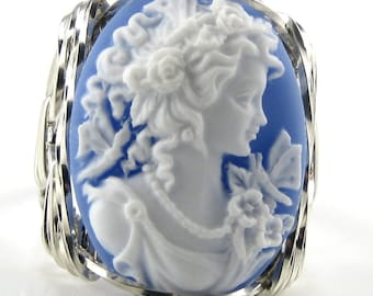 Grecian Goddess Butterfly Blue Cameo Ring .925 Sterling Silver Jewelry Art Size Selectable