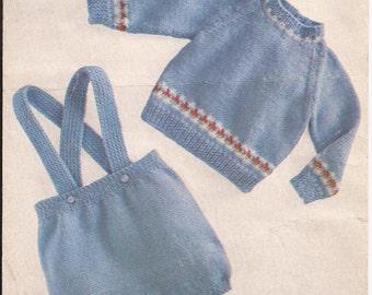 "PDF Knitting Pattern Baby Boys Sweater/pants/diapers/shorts 16-18"" (SS34)"