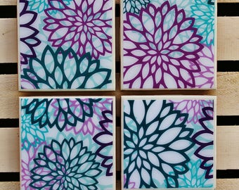 Shabby chick purple and turquoise coaster set
