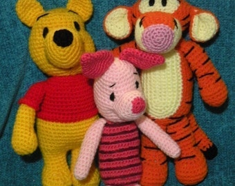 INSTANT DOWNLOAD - special offer: 4 downloadable files - amigurumi crochet pattern from Winnie the Pooh, Tigger, Piglet and Eeyore